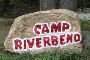 Camp Riverbend entrance rock